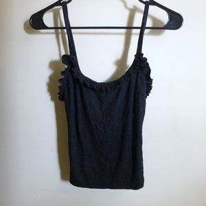 ❌ URBN OUTFITTERS Black Ruffled Stretchy Tank